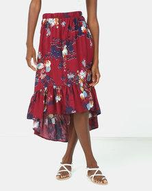 Utopia Floral Print Ruffle Skirt Burgundy