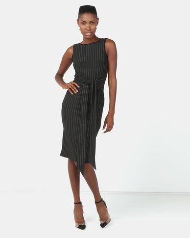 Utopia Stripe Sleeveless Tie Front Dress Black/White