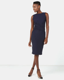 Utopia Stripe Sleeveless Tie Front Dress Navy/White