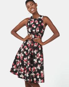 Utopia Floral Cotton Twill Flare Dress Black