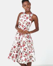 Utopia Floral Cotton Twill Flare Dress Milk
