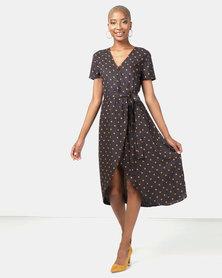 Utopia Spot Viscose Wrap Dress Navy