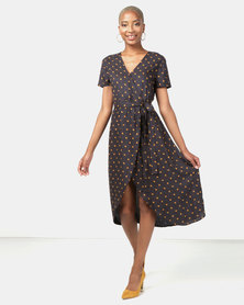 Utopia Spot Viscose Wrap Dress Navy