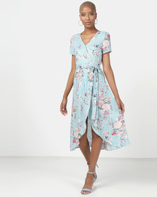 Utopia Floral Viscose Wrap Dress Seafoam