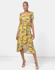 Utopia Floral Viscose Wrap Dress Yellow