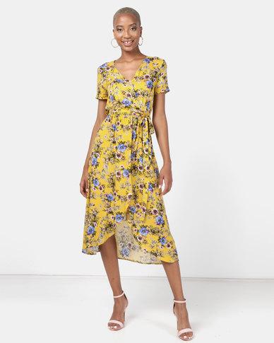 Utopia Floral Viscose Wrap Dress Yellow