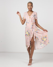 Utopia Floral Viscose Wrap Dress Pink