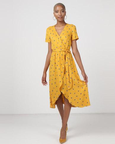 Utopia Spot Viscose Wrap Dress Mustard