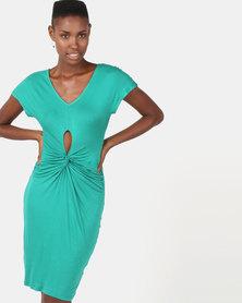 Utopia Viscose Knit Knot Dress Green