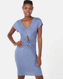 Utopia Viscose Knit Knot Dress Blue