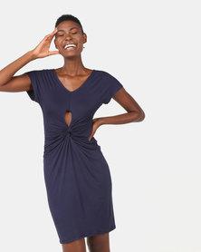 Utopia Viscose Knit Knot Dress Navy