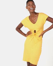 Utopia Viscose Knit Knot Dress Yellow