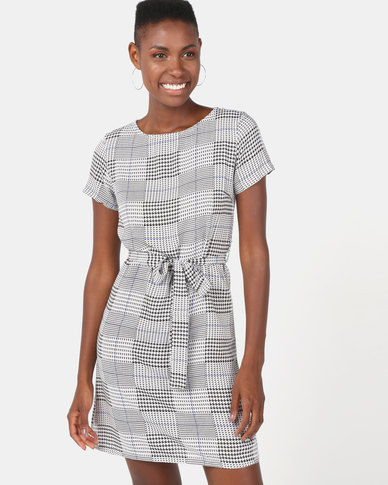 Utopia Stripe Houndstooth Viscose Dress Multi