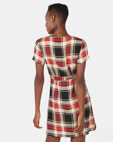 Utopia Stripe Viscose Dress Red