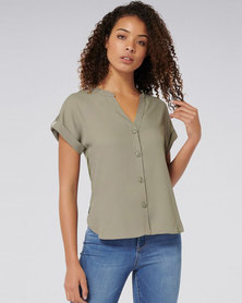 Forever New Eloise Button Front Top Khaki Sage