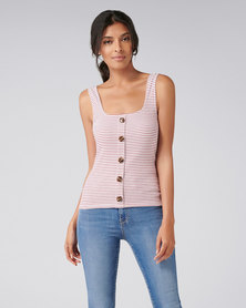 Forever New Maeve Rib Button Tank Red / White Stripe