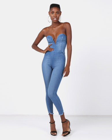 e3cd24352f98 Sissy Boy Deep V Boobtube Denim Jumpsuit Sky Blue