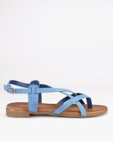 Franco Ceccato Cross Over Slingback Toe Thongs Blue