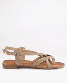 Franco Ceccato Cross Over Slingback Toe Thongs Light Brown