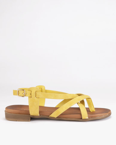 Franco Ceccato Cross Over Slingback Toe Thongs Mustard