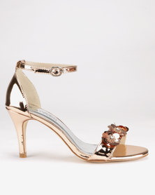 Franco Ceccato Flower Detail Closed Back Heels Rose Gold