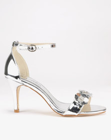 Franco Ceccato Flower Detail Closed Back Heels Silver