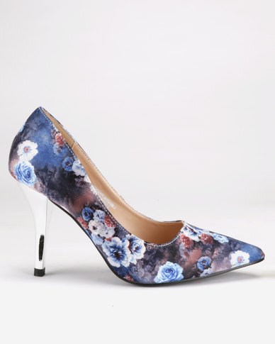 Franco Ceccato Pointy Metallic Court Heels Blue Floral