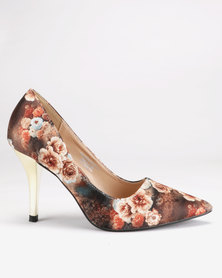Franco Ceccato Pointy Metallic Court Heels Brown Floral