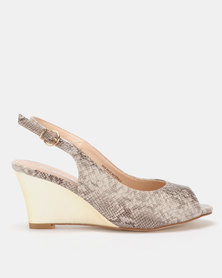 Franco Ceccato Sling Back Peeptoe On Gold Wedges Beige