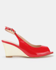 Franco Ceccato Sling Back Peeptoe On Gold Wedges Red