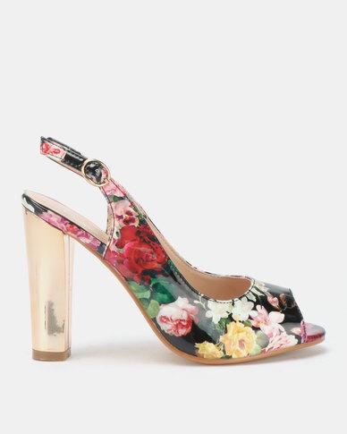Franco Ceccato Floral Peeptoe On Gold Heels Black