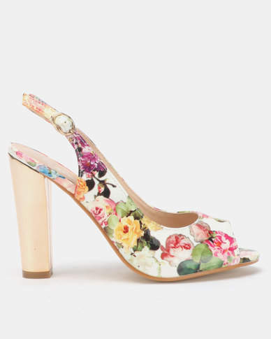 e5fb8d6aed9 Franco Ceccato Floral Peeptoe On Gold Heels White
