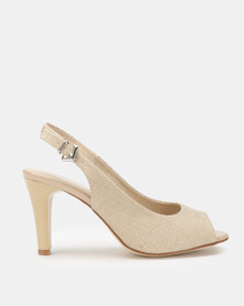 Queue Slingback Peep Toe Heels Beige