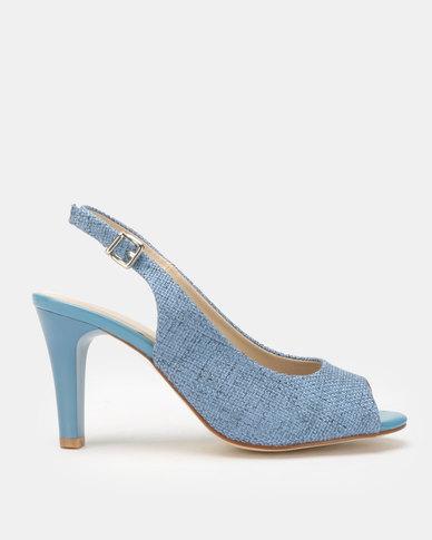 Queue Slingback Peep Toe Heels Blue