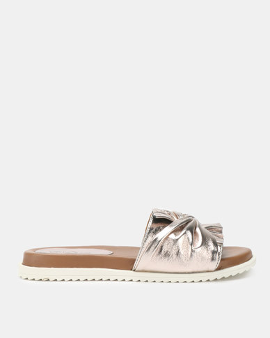 Queue Leather Mules With Bow On Footbed Pewter
