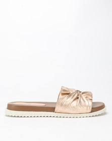 Queue Leather Mules With Bow On Footbed Rose Gold