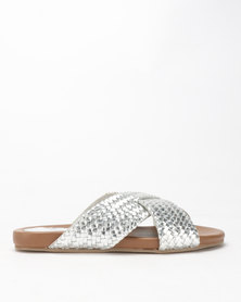 Queue Leather Cross Over Woven Slides Silver