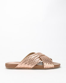 Queue Leather Cross Over Woven Slides Rose Gold