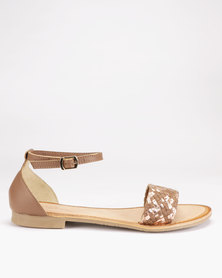 Queue Leather Woven Closed Back Sandals Tan/Rose Gold