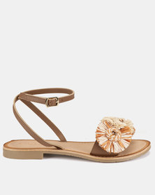Queue Raffia Sandals With Ankle Strap Tan/Natural