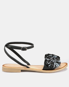 Queue Raffia Sandal With Ankle Strap Black/Grey