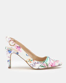 Queue Floral Slingbacks White Multi