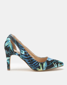 Queue Printed Court On Medium Heels Navy Floral