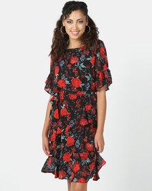 Revenge Rose Print Flared Dress Black