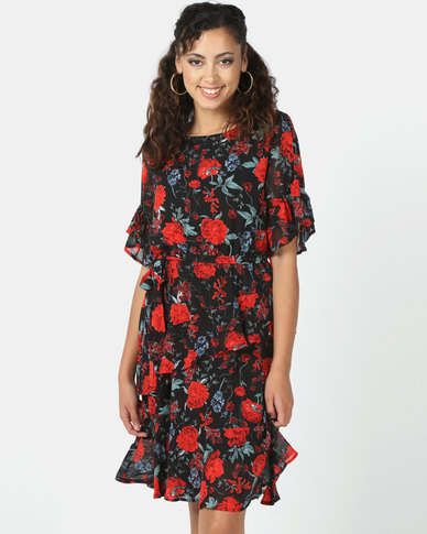 Revenge Rose Print Flared Dress Black
