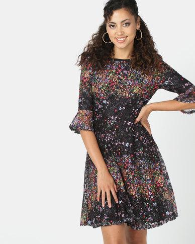 Revenge Multi Dot Print Dress Black
