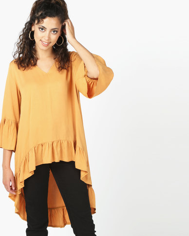 Revenge Hi Lo With Frill Detail Top Mustard