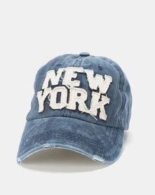 Ililily New York Washed Cap Blue