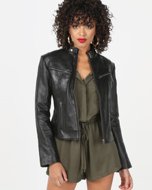 House of LB Talia Leather Jacket Black