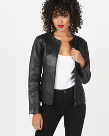 House of LB Amy Leather Jacket Black